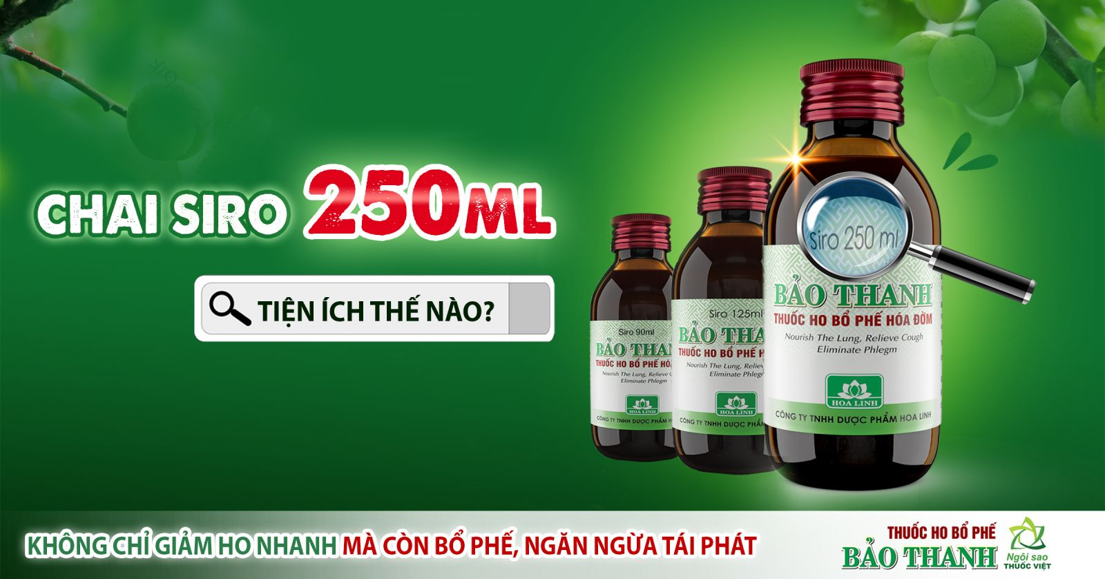 Thuốc ho bổ phế Bảo Thanh - Tiện ích của dạng chai siro 250ml